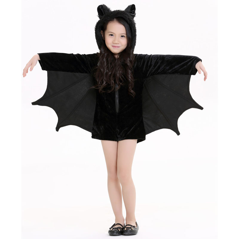 new child animal cosplay cute bat costume kids halloween costumes for girls black zipper jumpsuit connect - Kids Cheap Halloween Costumes