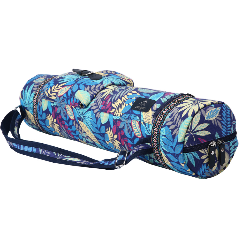 Leaves Yoga Mat Bag Sports Backpack Exercise Bag Fitness Gym Shoulder Bag Women Girls Dance Pilates Mat Package canvas elephant yoga mat bag large capacity gym bag sports handbag fitness dance gymnastics pilates athletes exercise mat bags