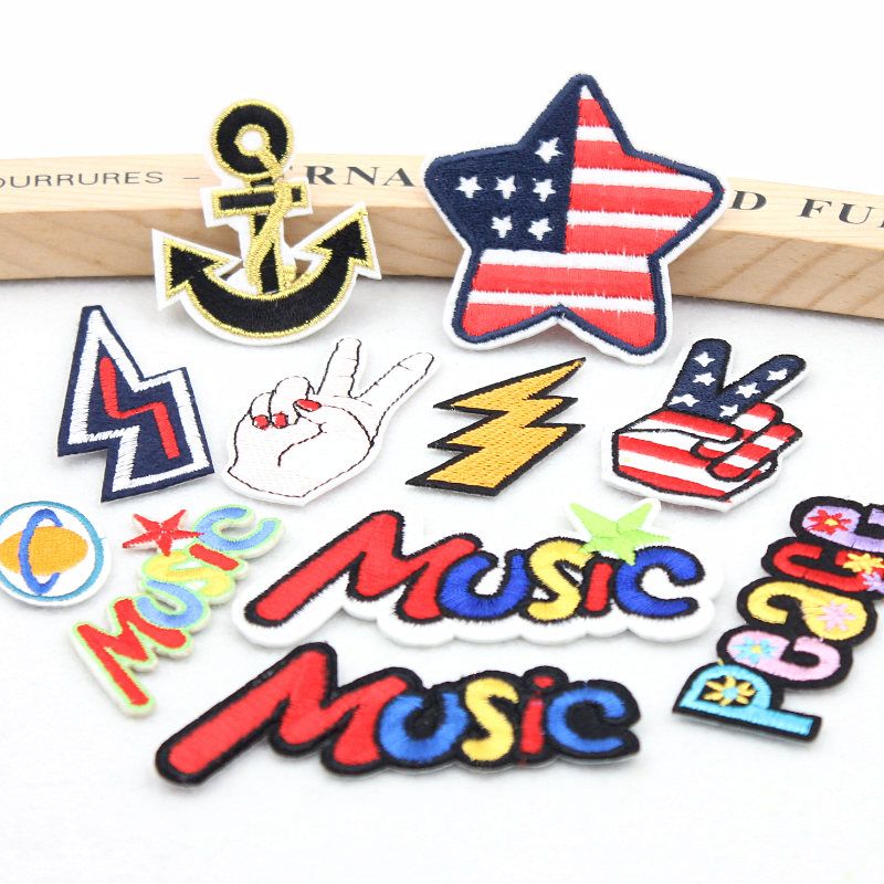 ZOTOONE WOW Letter Patch Set Cartoon Cheap Embroidered
