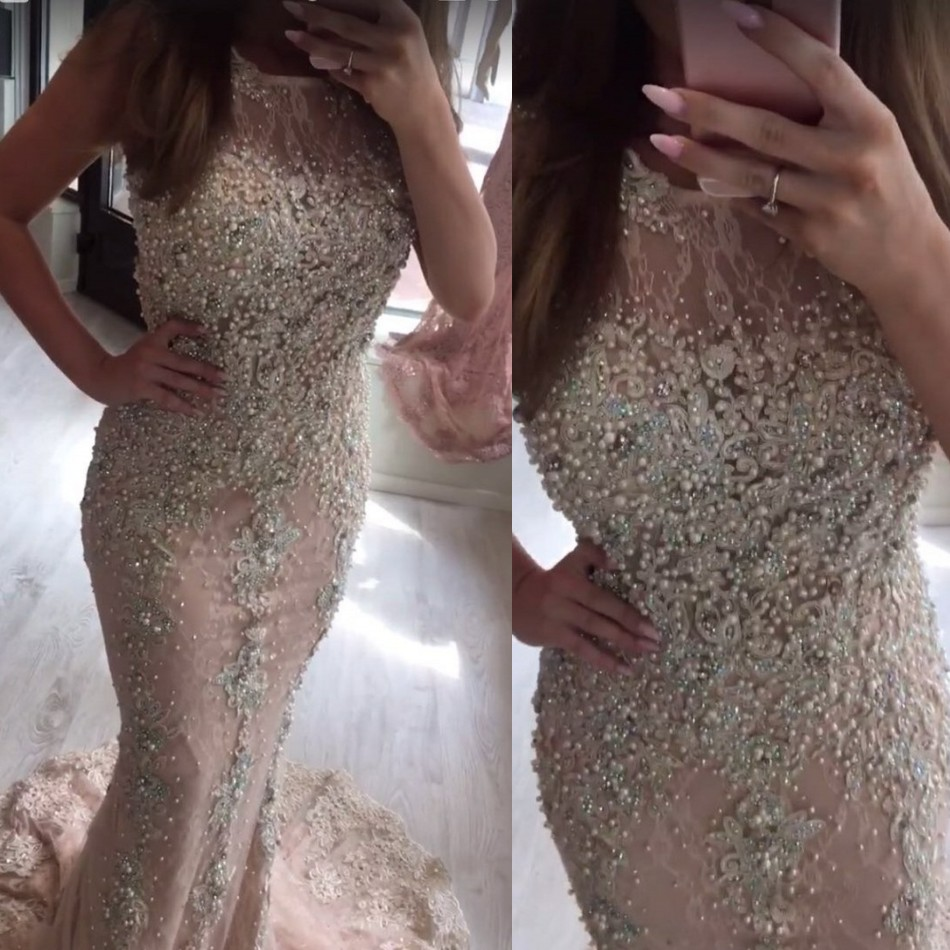 Luxury Lace Pearls Mermaid Evening Dresses Nude Pink Dubai Long Beaded Prom Gowns 2019 Custom Made