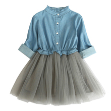 2019 New Spring Baby Girl's Denim Patchwork Mesh Dresses Casual Long Sleeve Autumn Princess Dress Kids Children Clothing XL350 цена 2017