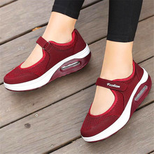 Jianbu female 2019 shallow mouth cushion hollow spring and summer thick mesh breathable soft bottom rocking shoes