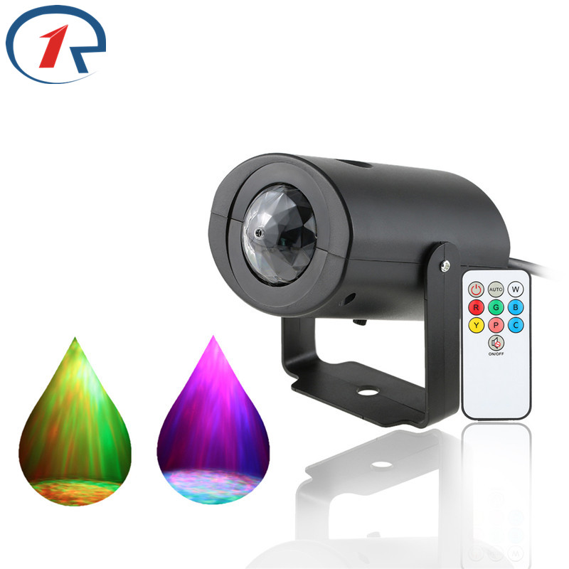 ZjRight IR Remote Water Wave effect Led Stage Light Red Green Blue colorful Projector effect for KTV Party Disco Bar dj lighting