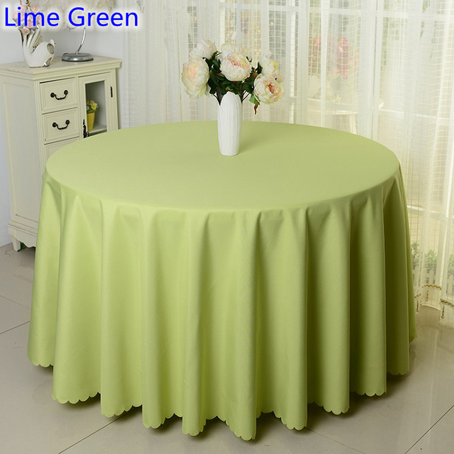Lime Green Colour Solid Table Cloth Polyester Cover For Wedding Hotel And Restaurant Round Tables Decoration 200gsm Fabric