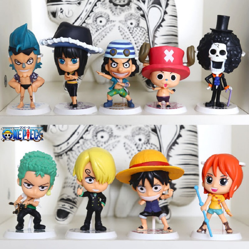 9pcs/lot One Piece Luffy Chopper Zoro Figure Action Model Q Version Anime Animation Toys Brinquedos Collection Figures For Kids anime one piece figures q version luffy zoro chopper pvc action figure toys model collection japan animation 20pcs set