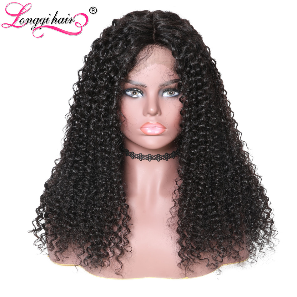 Longqi Hair 13x4 Brazilian Curly Human Hair Wigs Natural Color Remy Curly Wigs For Women 10 - 24 Inch Long Lace Front Wig(China)