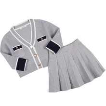 Autumn Girls Clothes Set Winter Grey Cardigan with Skirt 2 Pcs Set Children Outerwear Cute Baby Girl Sets Outfits Sweater Set цена 2017