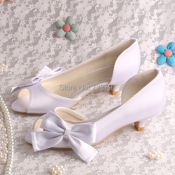 (20 Colors)Custom Handmade Wedding Shoes White Low Heel for Women with Bowtie