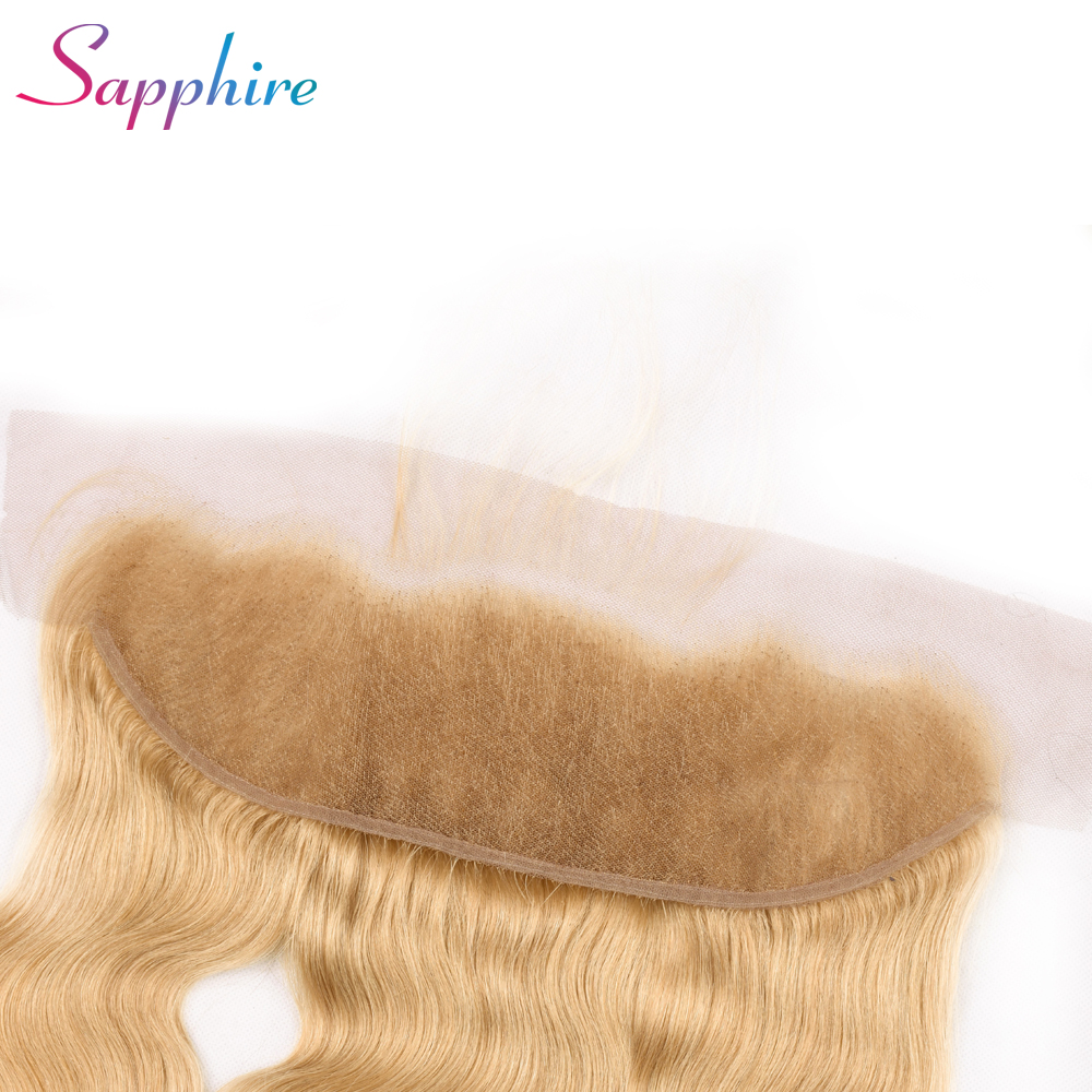 Sapphire Brazilian 13x4 Ear To Ear Lace Frontal Closure 27# Body Wave Hair Free Part 100% Remy Human Hair Closures