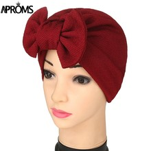 Aproms New Women Bow Headwear Headwrap African Head wrap Twist Hair Band Turban Bandana Bandage Hijab Accessories India Caps(China)