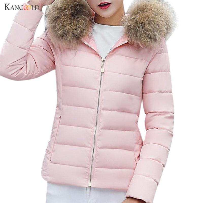 2017 Autumn Winter Jacket Women   Parkas   for Coat Fashion Female Down Jacket With a Hood Large Faux Fur Collar Slim Warm Coat se28