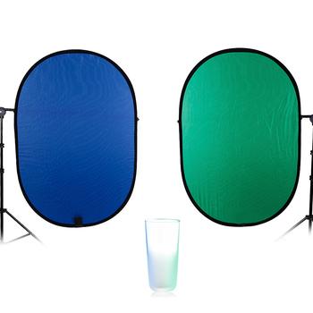 TRUMAGINE 100*150CM 2 w 1 owalne składane przenośne oświetlenie do studia fotograficznego reflektor stojak do fotografii dyfuzory i refelctors tanie i dobre opinie FN100X150CMBG