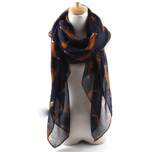 2017 Fashion Joker Spring Cotton Animal Scarf Warm Fox Print Shawl Scarf 7colors 100*180cm