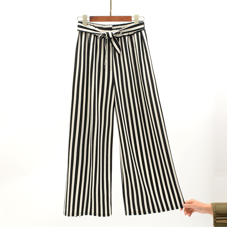 2019 Women Pants Summer New Striped High Waist Loose Pants Striped Straight Nine Pants Women 6