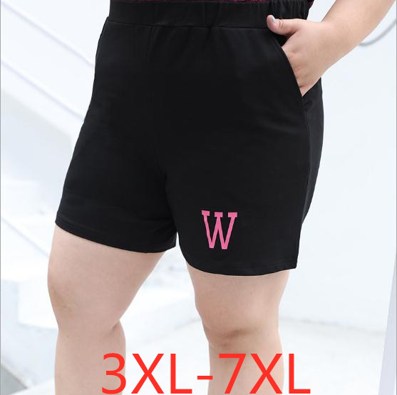 2019 Summer Plus Size Shorts For Women Casual Loose Elastic Waist Large Size Wowan Black Letter Silk Shorts 3XL 4XL 5XL 6XL 7XL