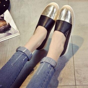 2018 Brand Design Women Espadrilles Flats Shoes Mix Color Creepers Women Loafers Ladies Shoes Glitter Shoes Women Big Size 42 44