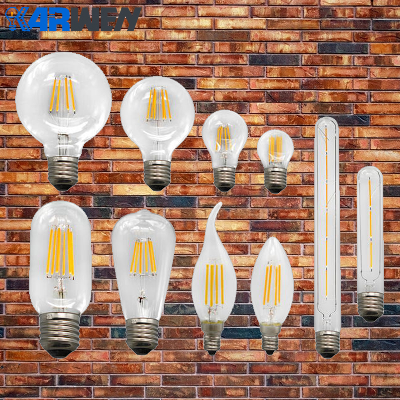 KARWEN Vintage LED Filament Bulb E27 E14 220V Real watt 2W 4W 6W 8W Antique Vintage LED Edison Bulb Retro Candle Light led light bulb filament vintage edison e14 2 w 4 w c35 ac220v glass transparent shell cob led candle lamp 360 degree light bulb