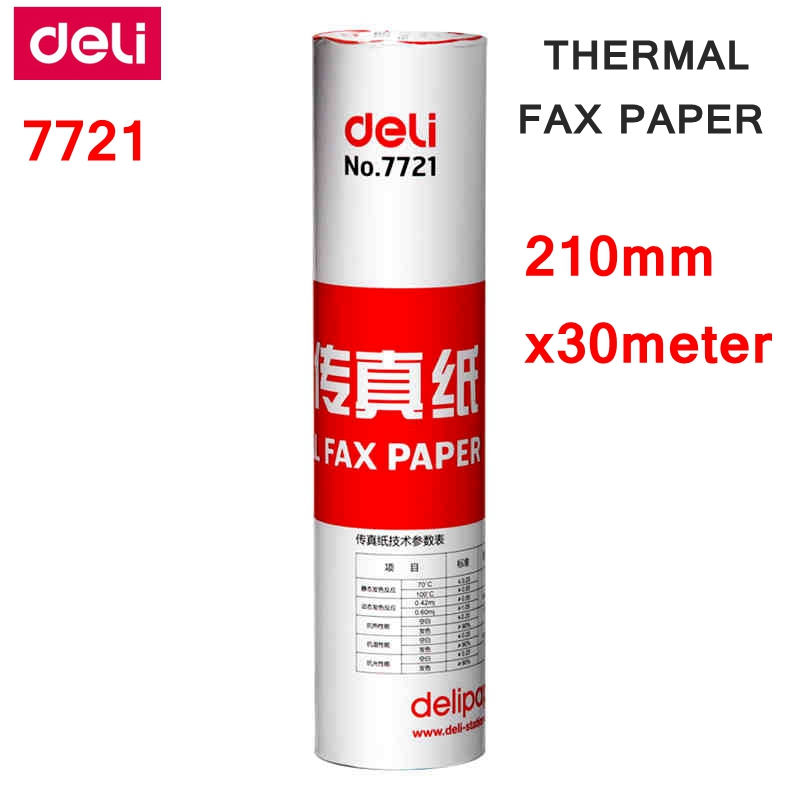 1 Roll Deli  7721 Thermal Fax Paper A4  210mm X 30meter Thermal Fax Machine Paper 55g Coated Paper Packing 210mm X 50mm Dia.