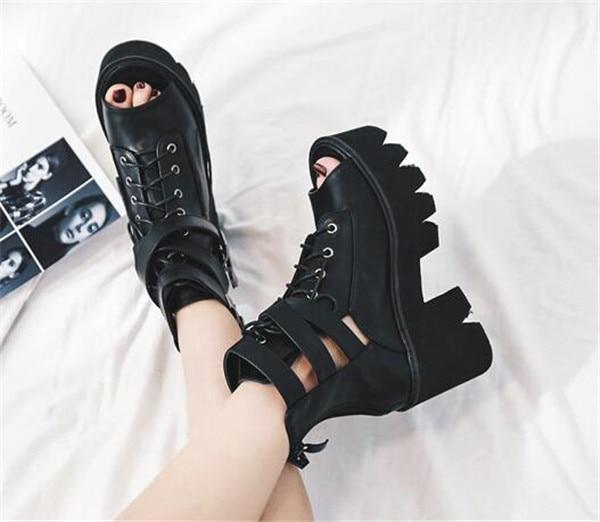 1f29119dcd2 ... Toe Sandals PXELENA Peep Hot Buckle Platform Block Thick High Gothic  Chunky Zip Rock Heels Mototrycle