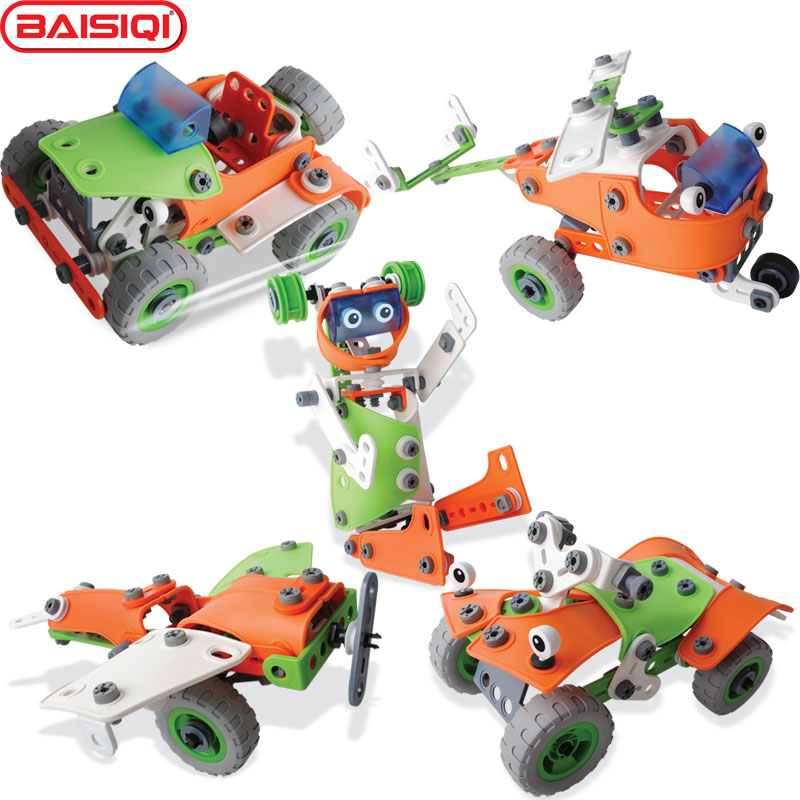 5 IN 1 intelligent Assembly tool set cartoon Robert Plane car helicopter model creative Figure toy kit for boy New Year Gift dig it out mummy model excavation kit 5 set