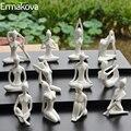 ERMAKOV 12 estilos Arte Abstracto cerámica Yoga Poses estatuilla porcelana Yoga señora figura estatua hogar Yoga estudio decoración ornamento
