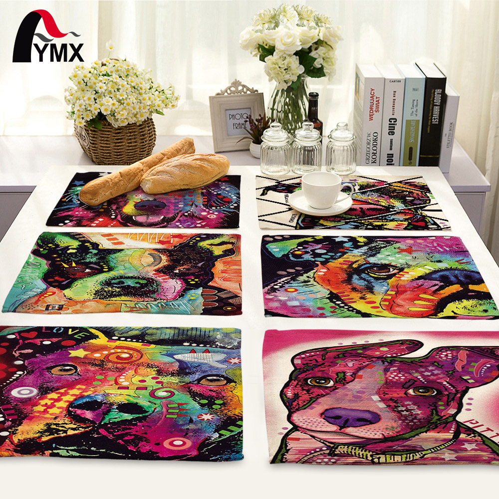 American Style Polyester Cartoon Dog Printed Table Napkins Dinner Napkins for Wedding Tea Coffee Table Decor Western Mats