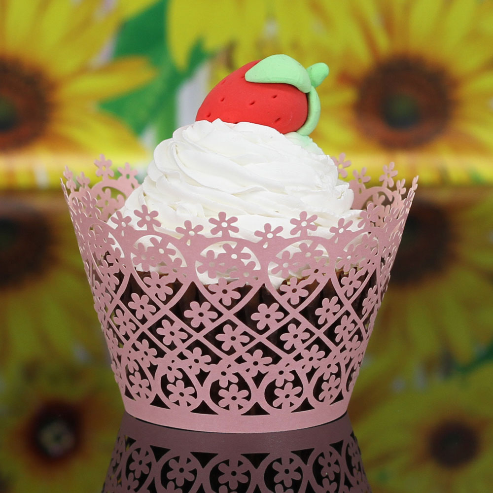 50 PCS Laser Cut Flower Muffin Cupcake Wrappers For Wedding Decoration