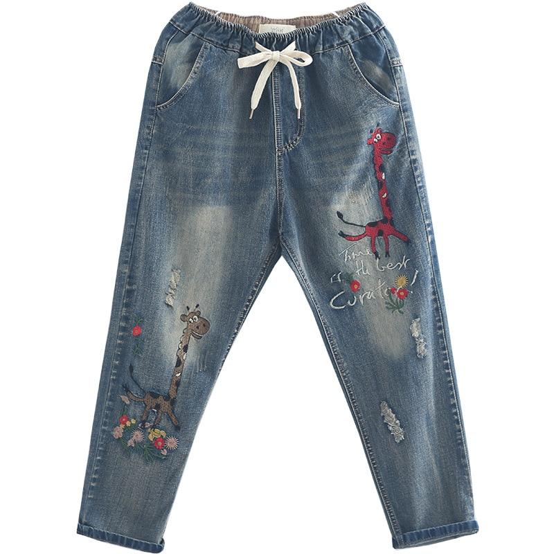 OMIKRON Women Fashion Loose   Jeans   Denim Elastic Waist Pocket Vintage Ethnic Giraffe Animal Embroidery Casual Ladies Harem Pants