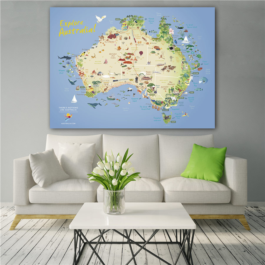 Explore Australia Map Grand Wall Art Sticker Print Decor For Home Hotel Cafe Bar Pub High Grade Canvas Diagram