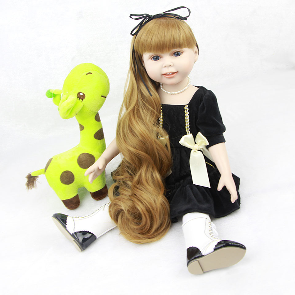 18'' American Girl Toy Full Vinyl Realistic Baby Dolls Alive Reborn Bebe Wear Handmade Black Dress Collectible American Doll