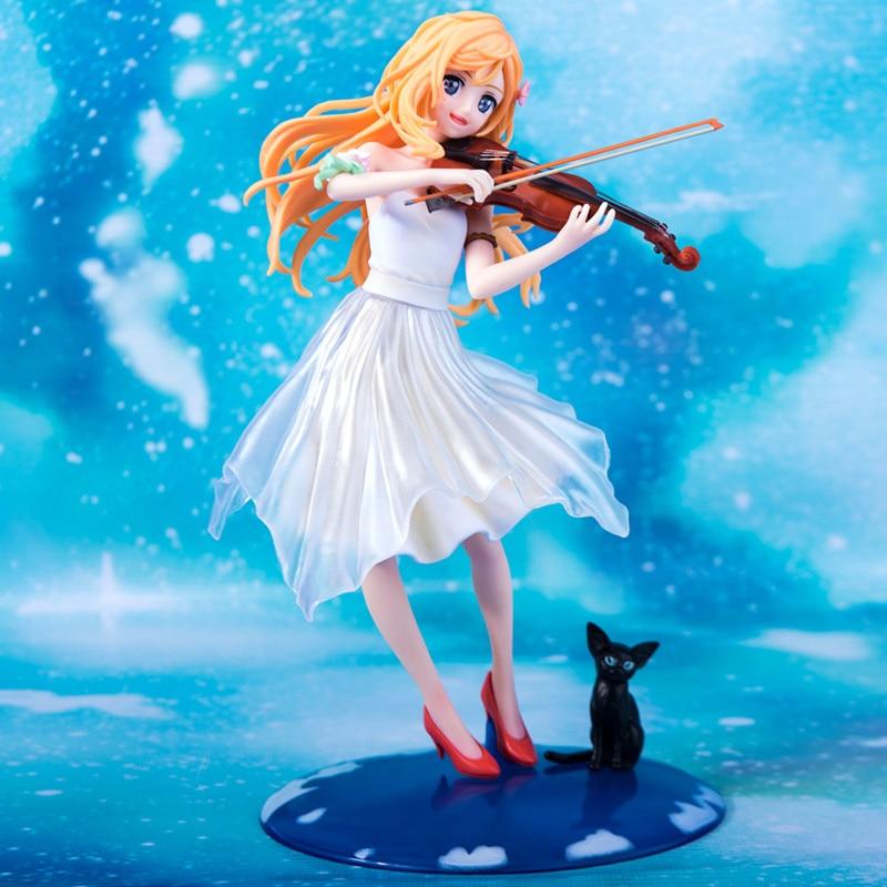 Toys & Hobbies 23cm Your Lie In April Kaori Miyazono Violin Action Figure Anime Doll Pvc New Collection Figures Toys Brinquedos Collection Soft And Antislippery