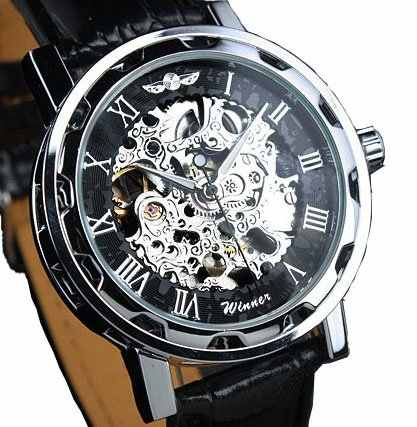 موضة الفائز الأسود حلقة من جلد الفولاذ المقاوم للصدأ الهيكل العظمي الميكانيكية ساعة للرجل الذهب الميكانيكية ساعة معصم العلامة التجارية الفاخرة