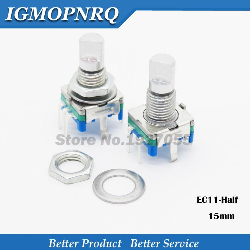 2 pièces demi poignée 15mm encodeur rotatif codage interrupteur/EC11/potentiomètre numérique avec interrupteur 5 broches nouveau