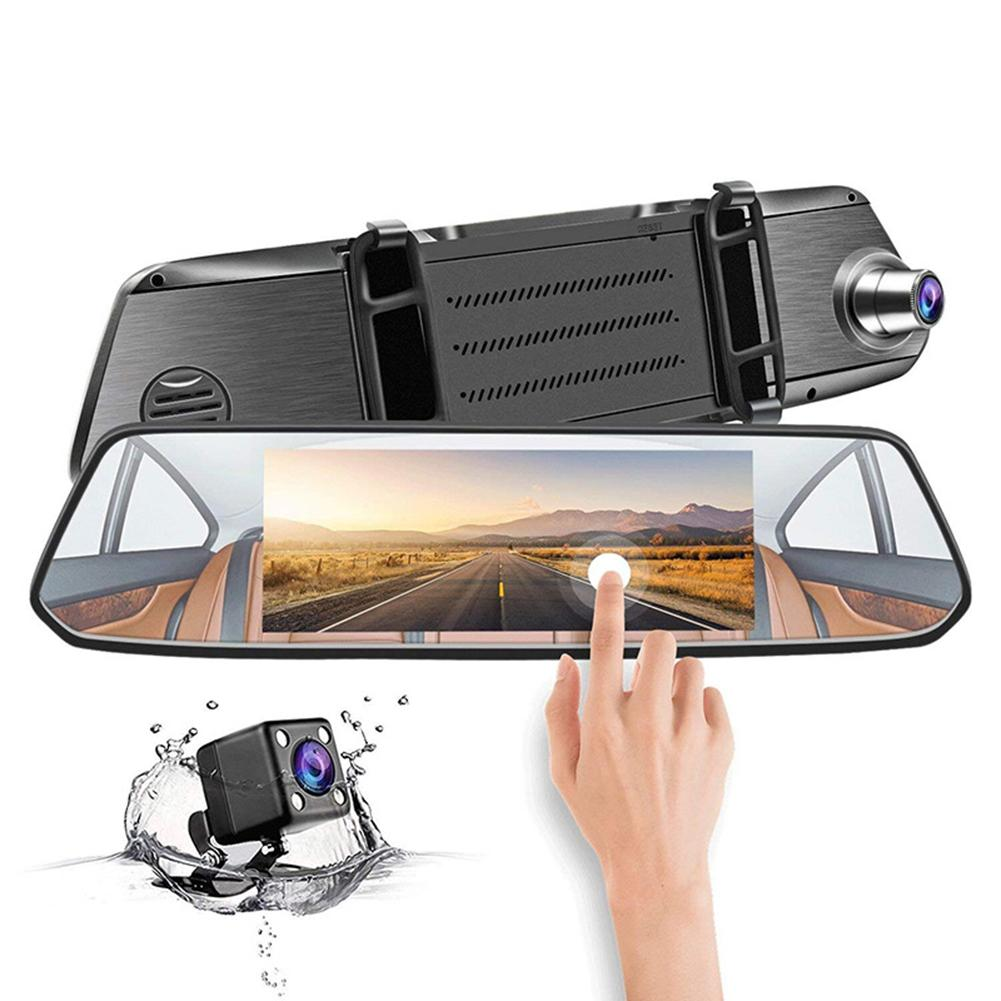 7 inch 2.5D Glass Automobile Data Recorder 7 Inch IPS Rearview Mirror Double Camera HD Touch Screen Driving Recorder