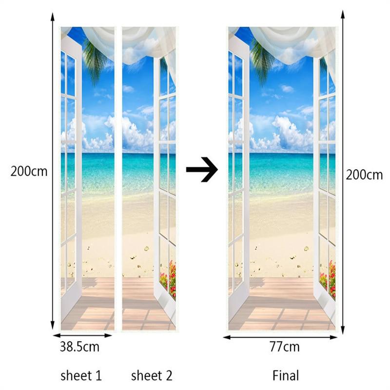 Купить с кэшбэком Photo Wallpaper 3D Stereo Window Beach Seaside Landscape Mural PVC Self Adhesive Door Sticker Living Room Bedroom Home Decor 3 D