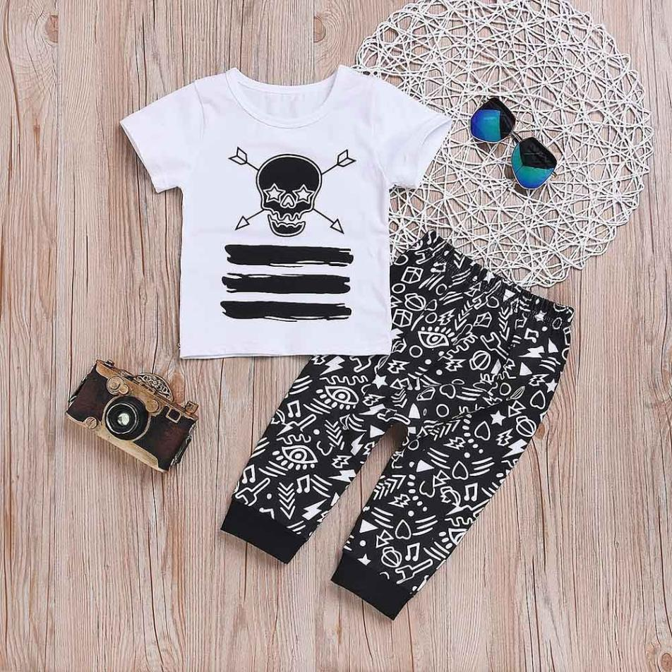 MUQGEW 2018 Cool Fashion Baby Boys Clothes Sets Kids Boy Skull Print Top Shirt + Pants O ...