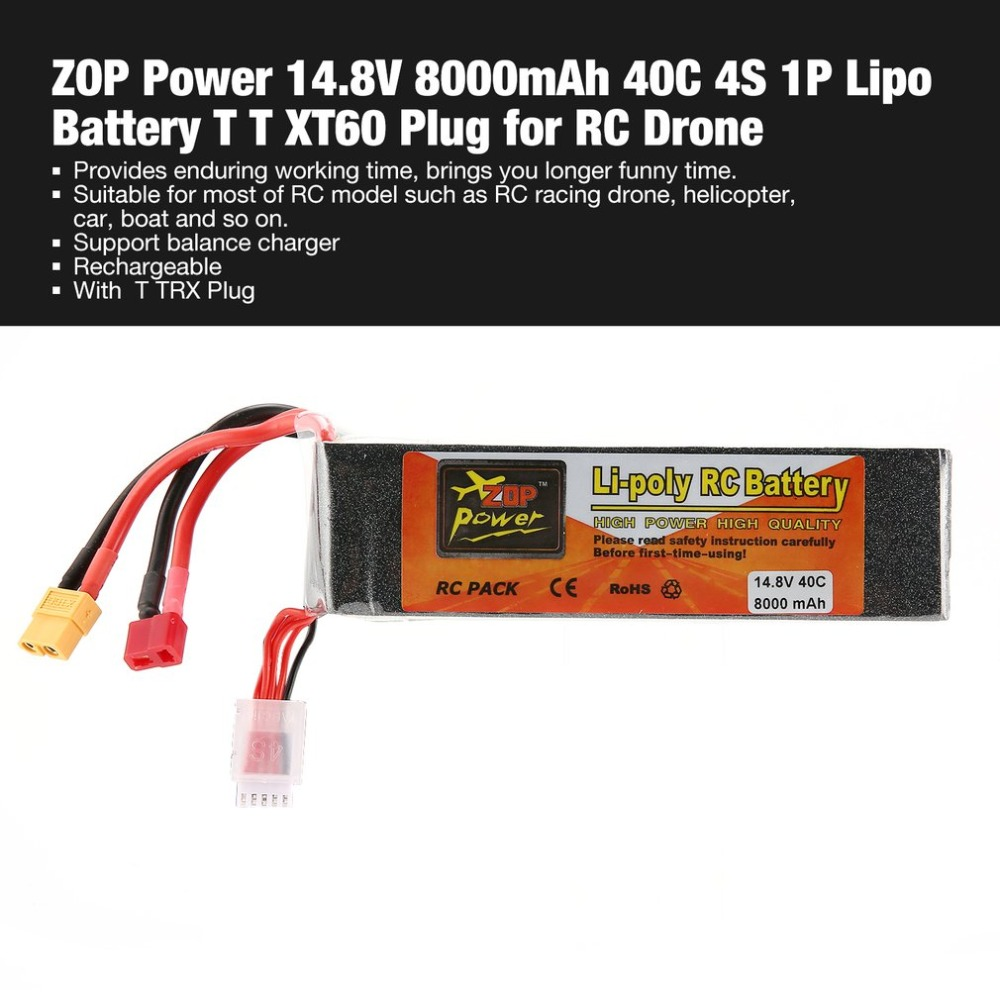 ZOP Power 14.8V 8000mAh 40C 4S 1P Lipo Battery T XT60 Plug Rechargeable for RC Racing Drone Quadcopter Helicopter Car BoatZOP Power 14.8V 8000mAh 40C 4S 1P Lipo Battery T XT60 Plug Rechargeable for RC Racing Drone Quadcopter Helicopter Car Boat