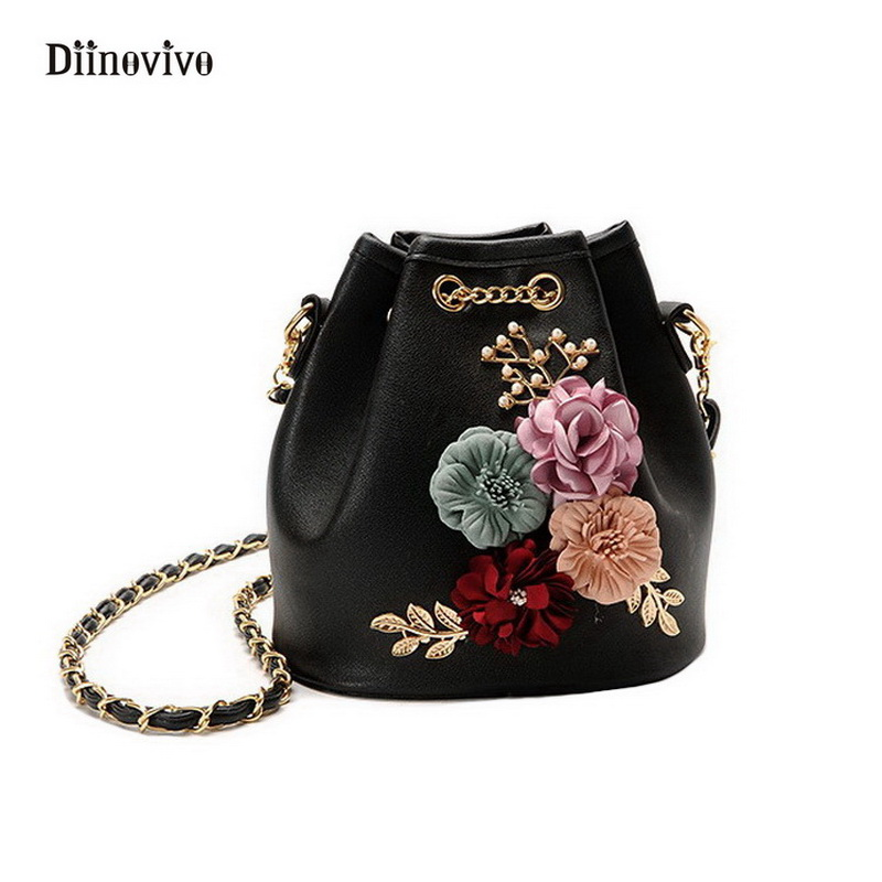 DIINOVIVO Fashion Youth Leather Handbags Women Flowers Bucket Totes Simple Brand Punk Bags Exquisite Chain Shoulder Bag WHDV0289
