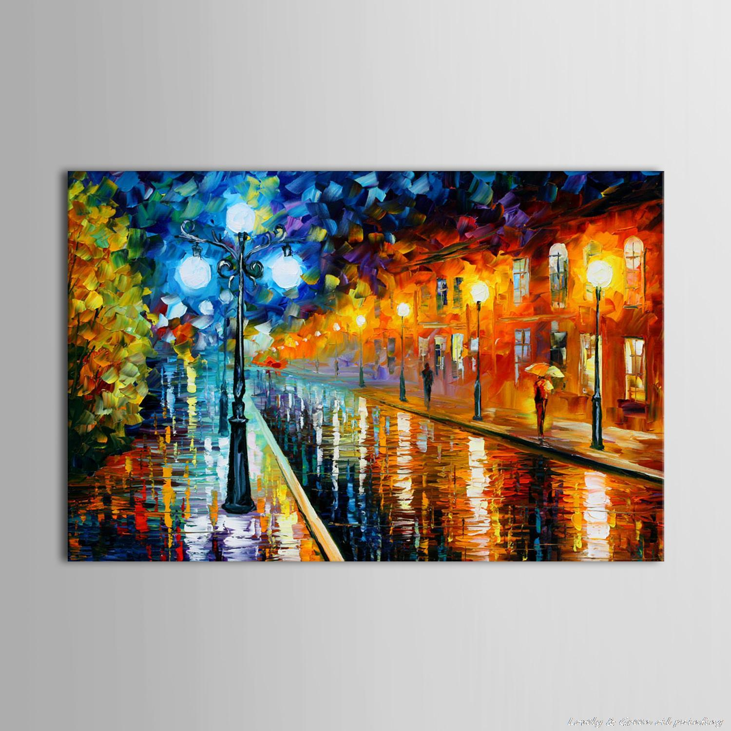 Living in the rain garden the living room is painted - 100 Hand Painted Free Shipping Colorful Oil Painting On Canvas Street After The Rain Wall Art Pictures Living Room Home Decor