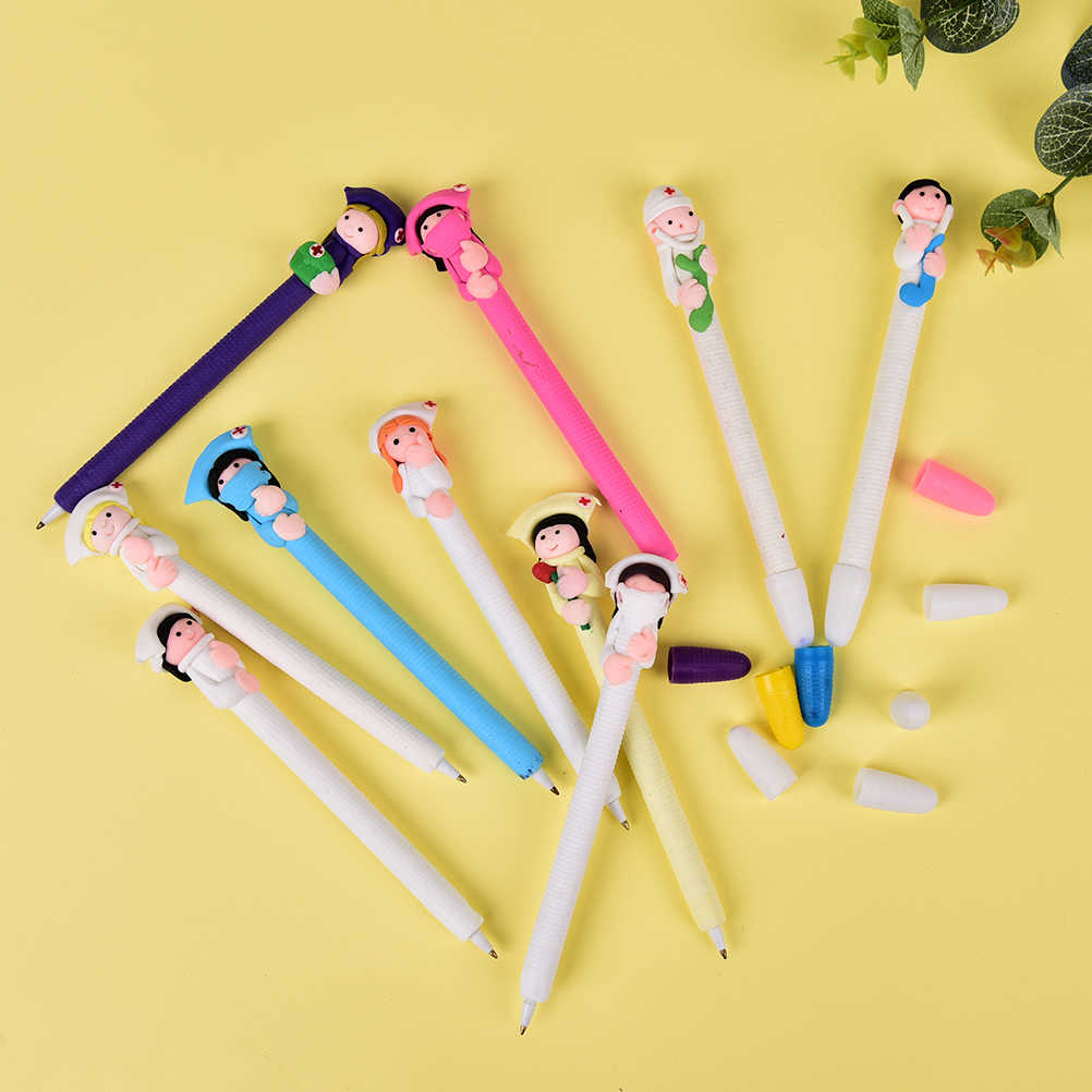 5pcs cute Creative Stationery Wholesale Doctor Nurse Polymer Caly Word Ball Pens Style Random Send