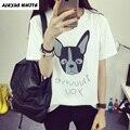 2017 Verano Coreano de Manga Corta T Shirt Ropa de mujer O-cuello de la Impresión Del Perro de Algodón Tops Camisetas Casual Camiseta Floja Femenina