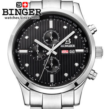 Binger Multifunction Army special waterproof luminous mens watch handmade quartz steel watches male outdoor stopwatch for
