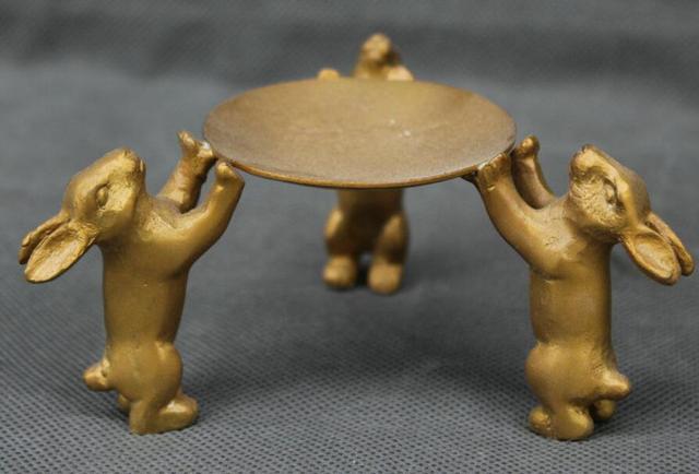 4 Brass Cinese Coniglio Tre Piedi Bastone Candela Lampada Ad Olio