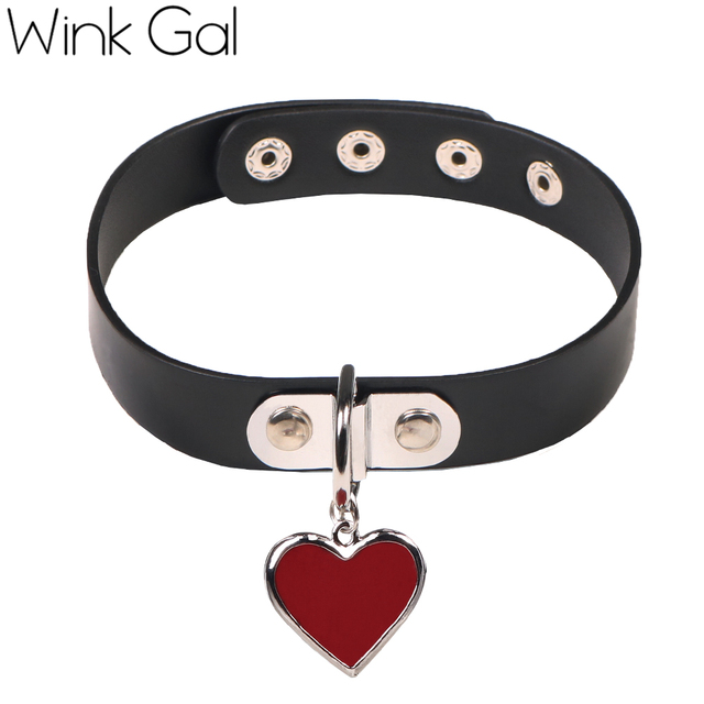 Wink Gal Trendy Chokers Necklaces Rock Style Resin Steampunk Punk Heart Necklace Pendants 10081