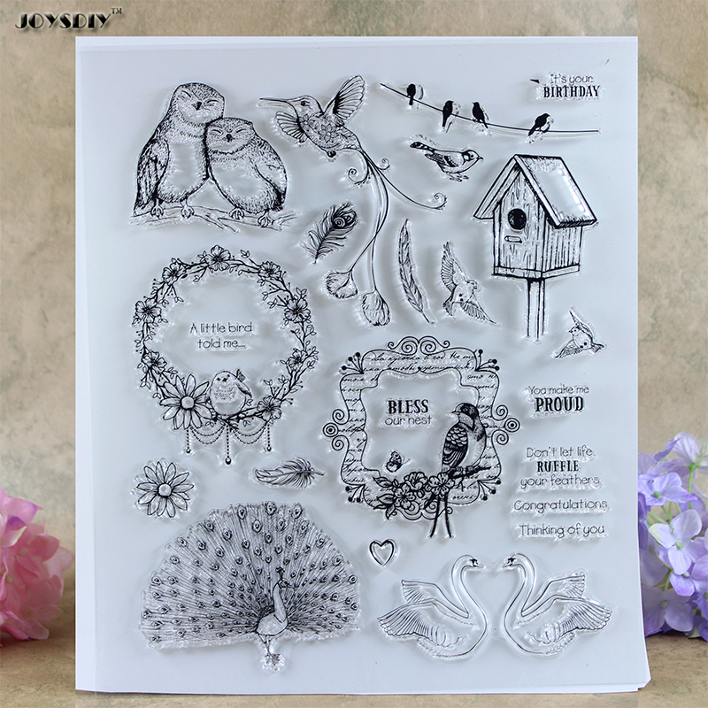 Birthday Series Bless Peacock Scrapbook DIY photo cards account rubber stamp clear stamp transparent stamp card Stamper 21*24CM scrapbook diy photo cards account rubber stamp clear stamp finished transparent chapter wall decoration 15 18