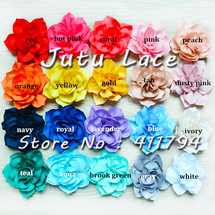 150 lots 3 5 shabby lotus flowers chiffon shabby flowers for headwear hair accessories 20 colors