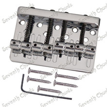Set Chrome 4 String Saddle Bass Guitar Bridge With black screws spring Top Load or Strings through body