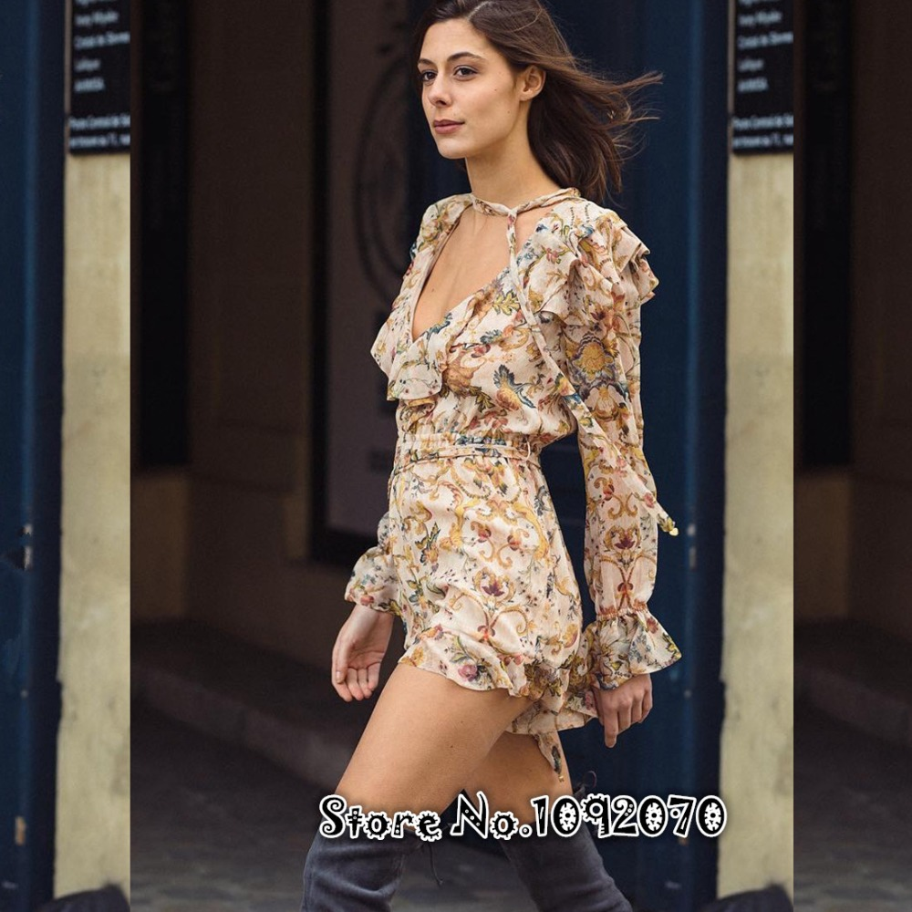 Women Floral Printed Painted Heart Playsuit Floral-print Ruffled V-neck Long Puff Sleeves Silk Painted Heart Cascade Playsuit