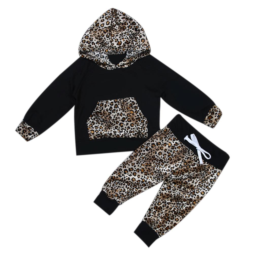 2pcs Suit Baby Girl Boy Clothing Sets Newborn Baby Girls Long Sleeve Leopard Hoodie Sweatshirt+Pants Outfits Set