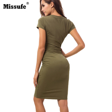 Missufe Sexy Ruched Bodycon Dress Elegant Party Slim Vestidos Solid Cotton Bandage Robe Femme Casual Pencil Women Clothing